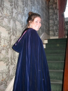 "Taylor, obviously unharmed by my writing attempts, in ""The Cape"" at her school's Victorian Day"