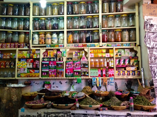 In this Berber pharmacy a student, wanting to practice his English skills, was quite the salesman.
