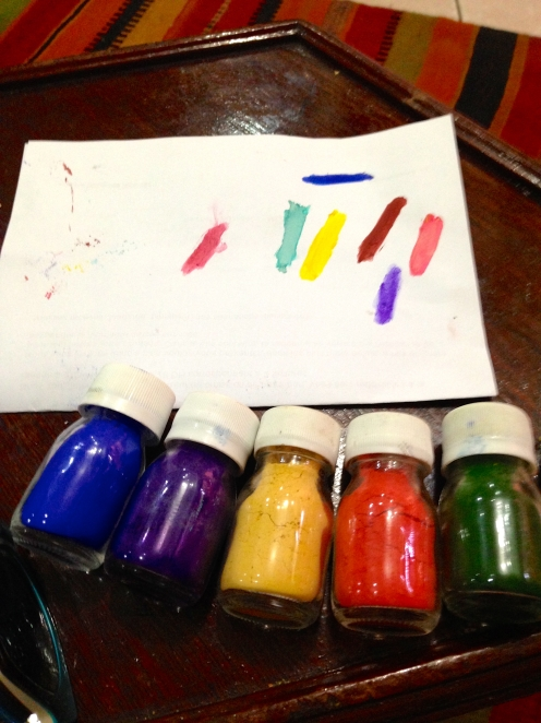 Pigments for painting--would love to paint again while here.